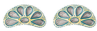 One Kings Lane Set of 2 Half Round Oyster Plates - Yellow