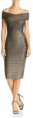 Wow Couture Metallic Off-the-Shoulder Body-Con Dress