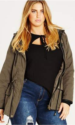 City Chic Citychic Olive In Line Parka
