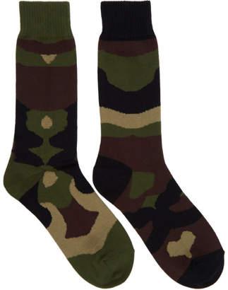 Sacai Green and Brown Camouflage Socks