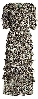 Rebecca Taylor Women's Lynx Stretch-Silk Ruffle Dress - Size 0