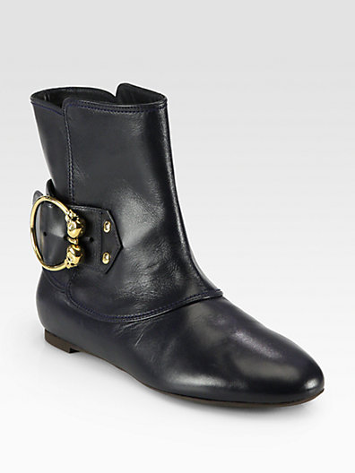 Alexander McQueen Leather Buckle Ankle Boots