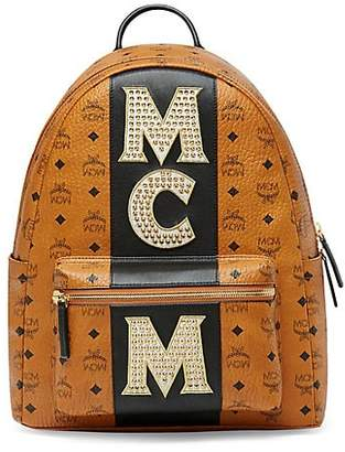 MCM Medium Stark Studded Logo Backpack