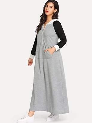 Shein Kangaroo Pocket Zip Front Hooded Longline Dress