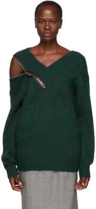 Christopher Kane Green Crystal Zip V-Neck Sweater