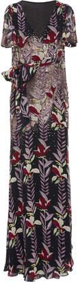 Temperley London Bellflower Chiffon Wrap Dress