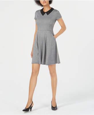 Maison Jules Embellished-Collar Houndstooth Fit & Flare Dress