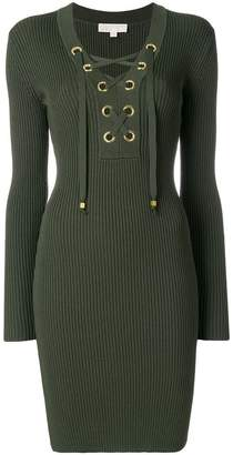 MICHAEL Michael Kors laced-up ribbed dress