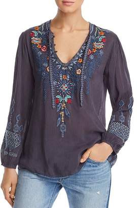 Johnny Was Chelsee Embroidered Blouse