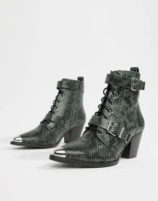 Asos DESIGN Rhythmic premium leather western lace up boots in snake