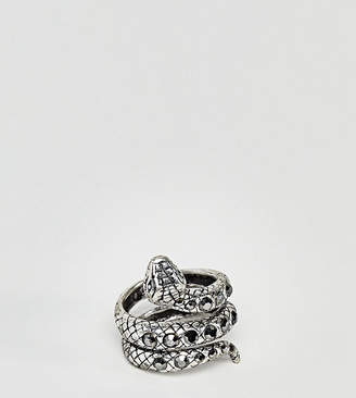 Reclaimed Vintage inspired ring with snake design and stones in silver exclusive at ASOS - Silver iPjAGkwt
