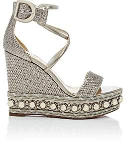 Christian Louboutin Women's Chocazeppa Glitter Mesh Platform-Wedge Sandals-Version Colombe