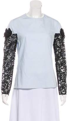Creatures of the Wind Lace-Accented Collarless Top