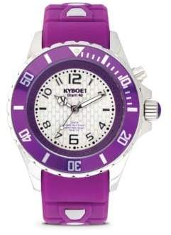 Power Purple Silicone & Stainless Steel Strap Watch/40mm