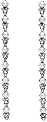Ben-Amun Faux Pearl & Crystal Linear Drop Earrings