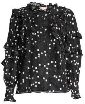 Rebecca Taylor Women's Allessandra Sheer Ruffle Silk-Blend Blouse - Black Combo - Size 8