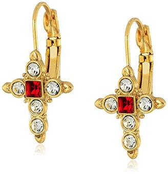 "Symbols of Faith""Inspirations"" 14k Gold-Dipped Crystal Dark Red Cross Drop Earrings"
