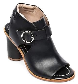 Bernardo Hazel Peep-Toe Leather Booties