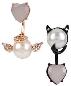 Betsey Johnson Pearl Critters Faux Pearl and Crystal Mismatched Earrings