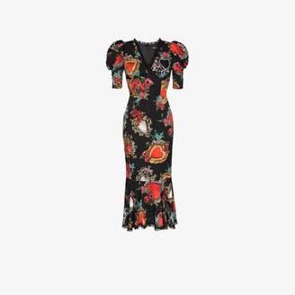Dolce & Gabbana Sacred Heart charm-print silk-blend midi dress