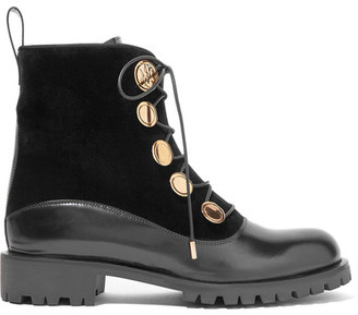 Alexander McQueen - Leather And Velvet Boots - Black $1,295 thestylecure.com