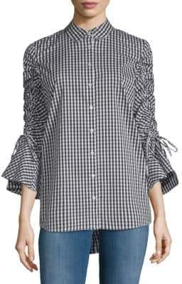 Calvin Klein Bell-Sleeve Gingham Blouse
