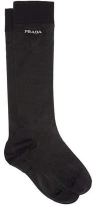 Prada Logo Intarsia Semi Sheer Lurex Socks - Womens - Black