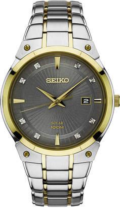 Seiko Men's Solar Diamond Accent Two-Tone Stainless Steel Bracelet Watch 41mm SNE430