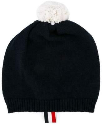 Thom Browne Kids cashmere pompom knitted beanie