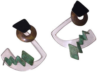 One Kings Lane Vintage Modernist Abstract Lucite Earrings - Treasure Trove NYC