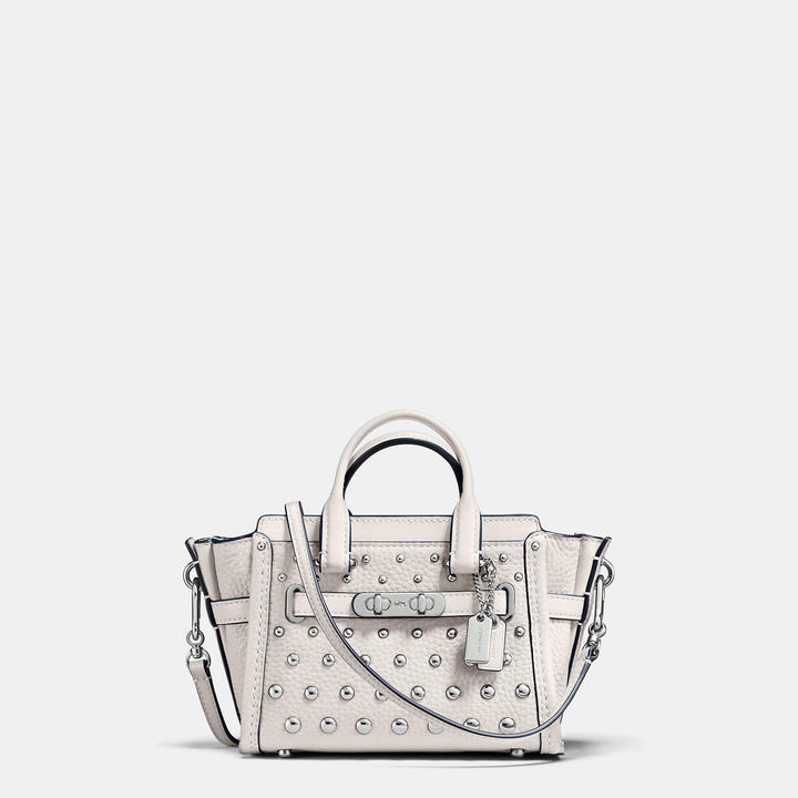 Coach  COACH Coach Swagger 15 In Pebble Leather With Ombre Rivets