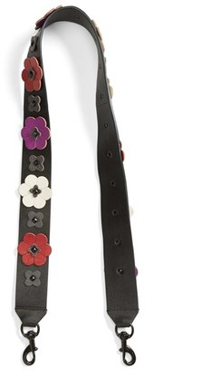 Rebecca Minkoff Floral Applique Leather Guitar Bag Strap - Black $95 thestylecure.com