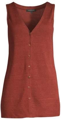 Lafayette 148 New York Button Front Linen-Blend Knit Vest