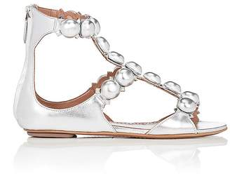 Alaia Women's Embellished Metallic Leather Sandals
