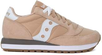 Saucony Jazz Pink And White Leather And Nylon Sneakers