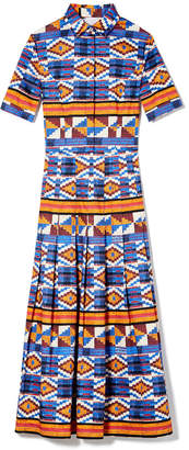 Stella Jean Pleated Short-Sleeve Shirt Dress