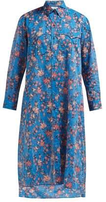 Etoile Isabel Marant Eliane Floral Print Cotton Voile Midi Dress - Womens - Blue