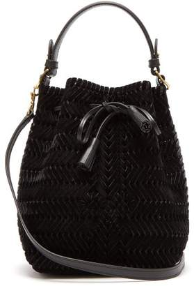 Anya Hindmarch The Neeson Mini Velvet Woven Bucket Bag - Womens - Black