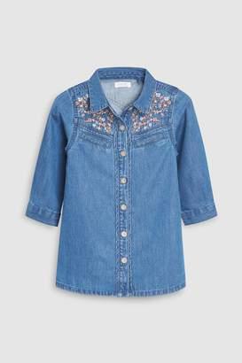 Next Girls Blue Embroidered Western Shirt Dress (3mths-6yrs)