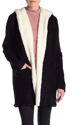 Catherine Malandrino Long Sleeve Faux Fur Hooded Sweater