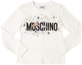 Moschino Stars Logo Printed Cotton Jersey T-Shirt