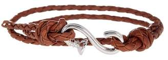 LINK-UP Braided Leather Wraparound S-Hook Bracelet