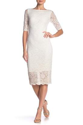 Marina 3/4 Sleeve Midi Slim Lace Dress