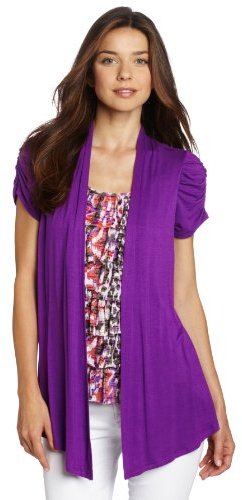 Amy Byer Women's Short Sleeve 2fer Print Knit With Ruffle Front Inset