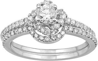 Vera Wang Simply Vera 14k White Gold 9/10 Carat T.W. Diamond Halo Engagement Ring Set