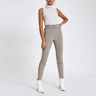 River Island Womens Brown check high waisted skinny trousers
