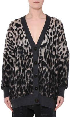 Stella McCartney V-Neck Button-Front Oversized Leopard-Print Cardigan