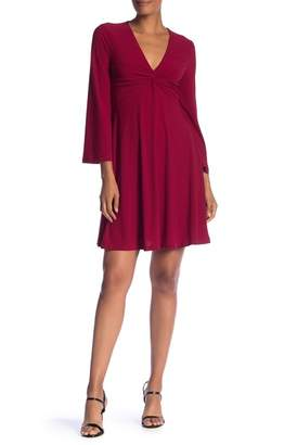 London Times V-Neck Front Twist Crepe Dress