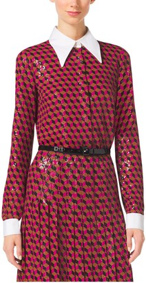 Michael Kors Sequined Hexagon Silk-Georgette Blouse