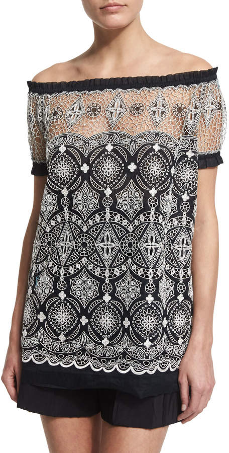 Naeem Khan Off-The-Shoulder Embroidered Peasant Top
